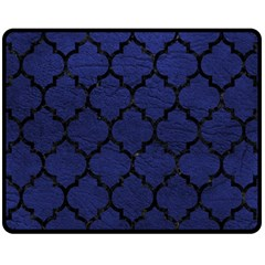Tile1 Black Marble & Blue Leather (r) Fleece Blanket (medium) by trendistuff