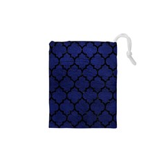 Tile1 Black Marble & Blue Leather (r) Drawstring Pouch (xs) by trendistuff