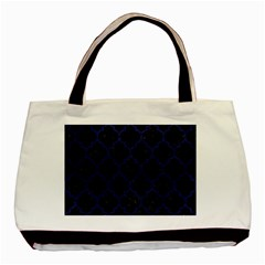 Tile1 Black Marble & Blue Leather Basic Tote Bag (two Sides) by trendistuff