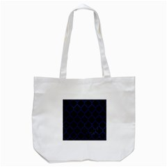 Tile1 Black Marble & Blue Leather Tote Bag (white) by trendistuff