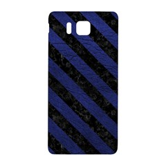 Stripes3 Black Marble & Blue Leather (r) Samsung Galaxy Alpha Hardshell Back Case by trendistuff