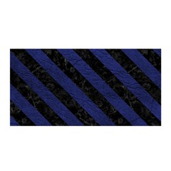 Stripes3 Black Marble & Blue Leather (r) Satin Wrap by trendistuff