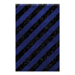 Stripes3 Black Marble & Blue Leather Shower Curtain 48  X 72  (small) by trendistuff