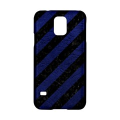 Stripes3 Black Marble & Blue Leather Samsung Galaxy S5 Hardshell Case  by trendistuff