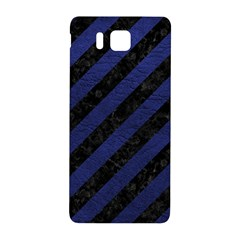 Stripes3 Black Marble & Blue Leather Samsung Galaxy Alpha Hardshell Back Case by trendistuff