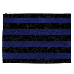 Stripes2 Black Marble & Blue Leather Cosmetic Bag (xxl) by trendistuff