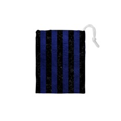 Stripes1 Black Marble & Blue Leather Drawstring Pouch (xs) by trendistuff