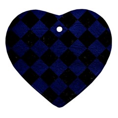 Square2 Black Marble & Blue Leather Heart Ornament (two Sides) by trendistuff
