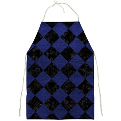 Square2 Black Marble & Blue Leather Full Print Apron by trendistuff