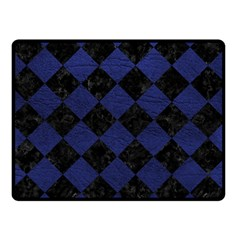 Square2 Black Marble & Blue Leather Double Sided Fleece Blanket (small) by trendistuff