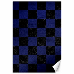 Square1 Black Marble & Blue Leather Canvas 12  X 18  by trendistuff