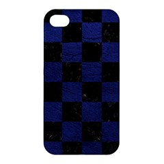Square1 Black Marble & Blue Leather Apple Iphone 4/4s Premium Hardshell Case by trendistuff