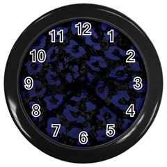 Skin5 Black Marble & Blue Leather (r) Wall Clock (black) by trendistuff