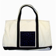 Skin5 Black Marble & Blue Leather (r) Two Tone Tote Bag by trendistuff