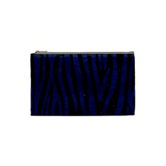 Skin4 Black Marble & Blue Leather (r) Cosmetic Bag (small) by trendistuff