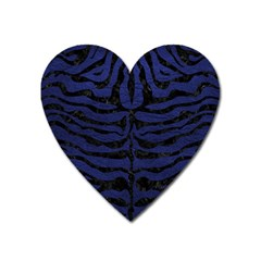 Skin2 Black Marble & Blue Leather (r) Magnet (heart) by trendistuff