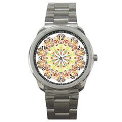 Intricate Flower Star Sport Metal Watch by Alisyart