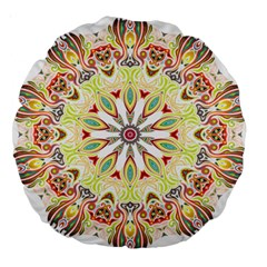 Intricate Flower Star Large 18  Premium Round Cushions by Alisyart