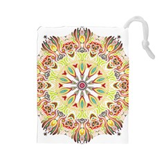 Intricate Flower Star Drawstring Pouches (large)  by Alisyart