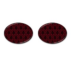 Elegant Black And Red Damask Antique Vintage Victorian Lace Style Cufflinks (oval) by yoursparklingshop