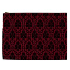 Elegant Black And Red Damask Antique Vintage Victorian Lace Style Cosmetic Bag (xxl)  by yoursparklingshop