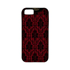 Elegant Black And Red Damask Antique Vintage Victorian Lace Style Apple Iphone 5 Classic Hardshell Case (pc+silicone) by yoursparklingshop