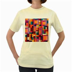 Abstract Background Geometry Blocks Women s Yellow T Shirt by Simbadda