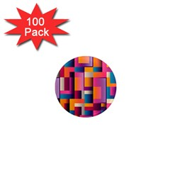Abstract Background Geometry Blocks 1  Mini Magnets (100 Pack)  by Simbadda