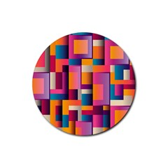 Abstract Background Geometry Blocks Rubber Coaster (round)  by Simbadda