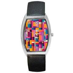 Abstract Background Geometry Blocks Barrel Style Metal Watch by Simbadda