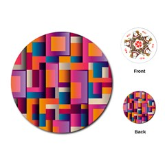 Abstract Background Geometry Blocks Playing Cards (round)  by Simbadda