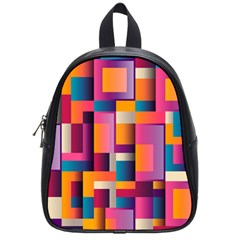 Abstract Background Geometry Blocks School Bags (small)  by Simbadda