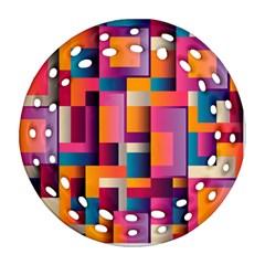 Abstract Background Geometry Blocks Ornament (round Filigree) by Simbadda