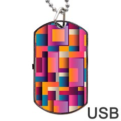 Abstract Background Geometry Blocks Dog Tag Usb Flash (two Sides) by Simbadda