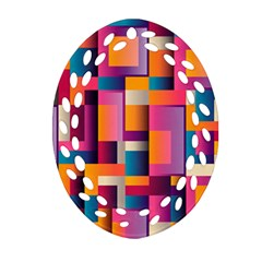 Abstract Background Geometry Blocks Oval Filigree Ornament (two Sides) by Simbadda