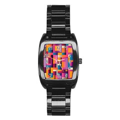 Abstract Background Geometry Blocks Stainless Steel Barrel Watch by Simbadda