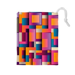 Abstract Background Geometry Blocks Drawstring Pouches (large)  by Simbadda