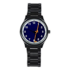 Greeting Card Invitation Blue Stainless Steel Round Watch by Simbadda