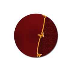 Greeting Card Invitation Red Magnet 3  (round) by Simbadda