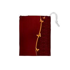 Greeting Card Invitation Red Drawstring Pouches (small)  by Simbadda