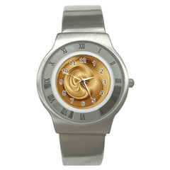 Gold Background Texture Pattern Stainless Steel Watch by Simbadda