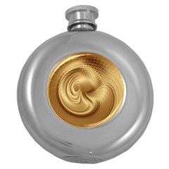 Gold Background Texture Pattern Round Hip Flask (5 Oz) by Simbadda