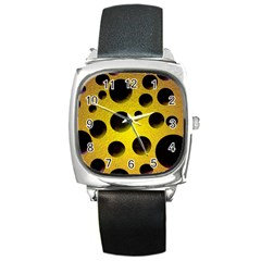 Background Design Random Balls Square Metal Watch by Simbadda