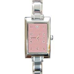 Pattern Red White Background Rectangle Italian Charm Watch by Simbadda