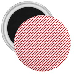 Pattern Red White Background 3  Magnets by Simbadda