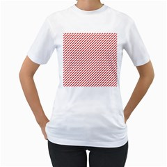 Pattern Red White Background Women s T Shirt (white) (two Sided) by Simbadda
