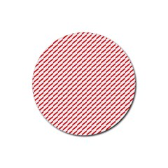 Pattern Red White Background Rubber Coaster (round)
