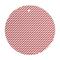 Pattern Red White Background Round Ornament (two Sides) by Simbadda