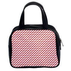 Pattern Red White Background Classic Handbags (2 Sides) by Simbadda