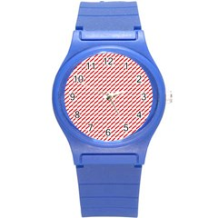 Pattern Red White Background Round Plastic Sport Watch (s) by Simbadda